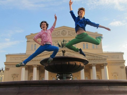 Nicholas and Julian MacKay outside the Bolshoi Theatre June 2013