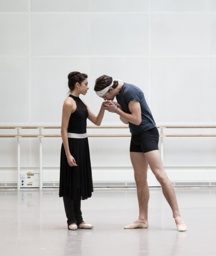 Yasmine Naghdi and Matthew Ball rehearsing Romeo and Juliet, Rehearsal photography by Andrej Uspenski ©ROH, 2015-03