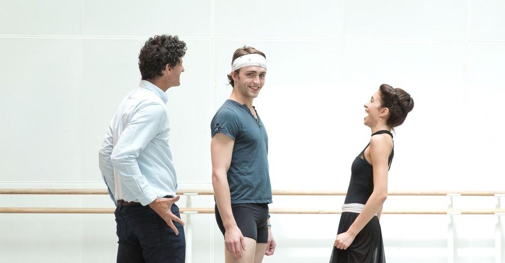 Yasmine Naghdi and Matthew Ball rehearsing Romeo and Juliet with Jonathan Cope crop - Rehearsal photography by Andrej Uspenski ©ROH, 2015-01