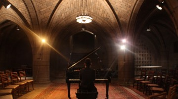 Lawrence Brownlee's singing down in the crypt