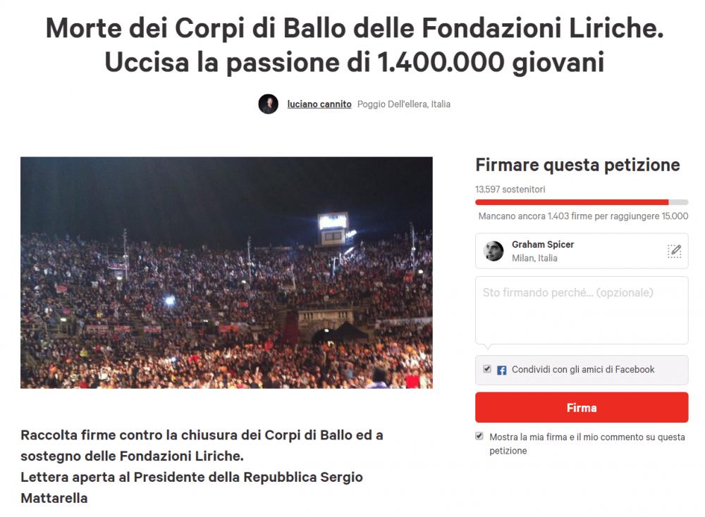 Petizione · Morte dei Corpi di Ballo delle Fondazioni Liriche. Uccisa la passione di 1.400.000 giovani · Change.org