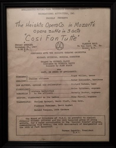 Programme for Bronx Opera's first performance, Così fan tutte, November 24, 1967 at Vladeck Hall, The Bronx