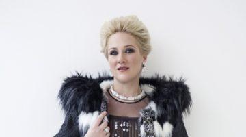 Diana Damrau in glamorous (faux) fur for her new album, Grand Opera